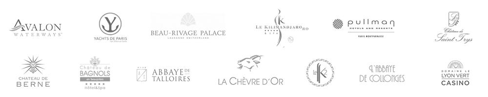 La Chèvre d'Or, Beau Rivage Palace à Lausanne, Abbaye de Talloires, Kilimandjaro et K2 à Courchevel, château de bagnols, Pullmann Montparnasse