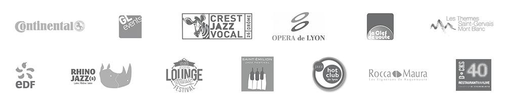 GL events, Crest jazz Vocal, Péristyle de l'opéra de Lyon, St Emilion Jazz Festival, Lounge Music Festival, Hot Club de Lyon, Clef de Voute, Docks 40 à Lyon Confluence